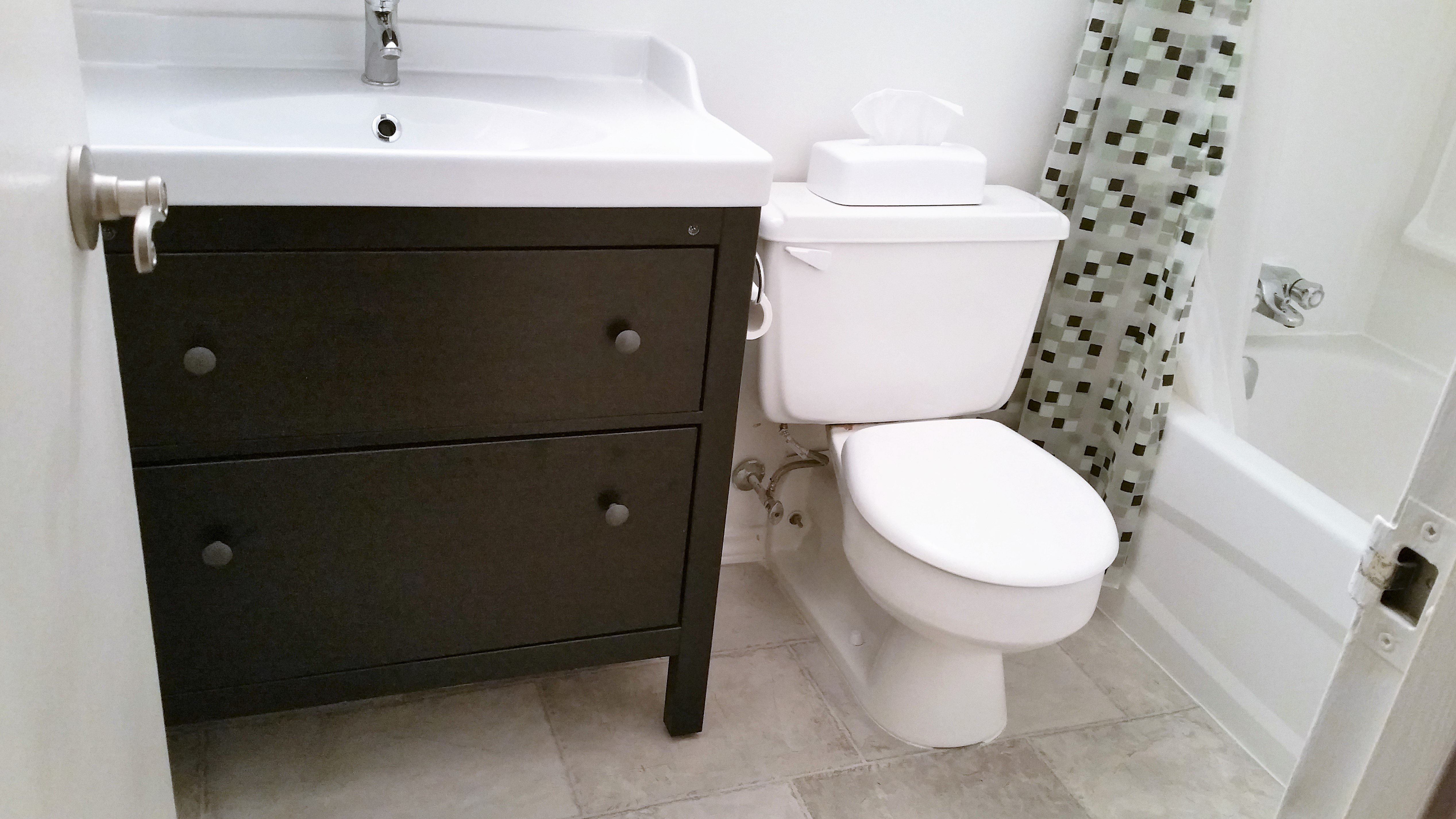 the bathroom was upgraded in january 2016 with a brand new tubshower lighting vanity medicine cabinet and vinyl floor ample shower lighting